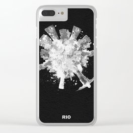 Rio de Janeiro, Brazil Black and White Skyround / Skyline Watercolor Painting (Inverted Version) Clear iPhone Case