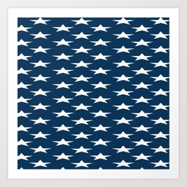 Blue Star Pattern Art Print