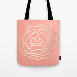 Flower in White Gold Sands on Salmon Pink Tote Bag