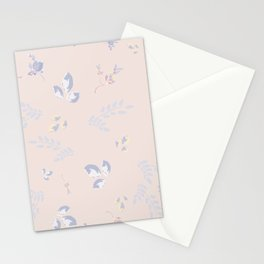 Spring watercolor leaves on peach background Stationery Cards