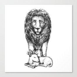 Lion Guarding Lamb Tattoo Canvas Print