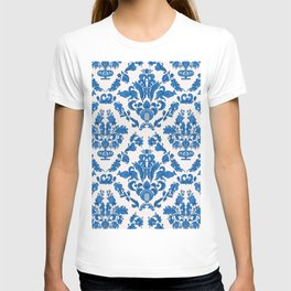Farmhouse porcelain blue damask pattern  T-shirt