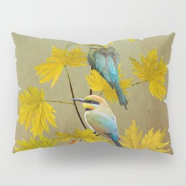 Bee-eaters in Japanese Maple Tree Pillow Sham