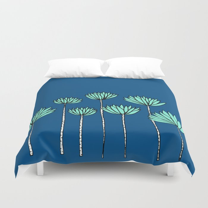 Blue and Teal Tropical Botanical Print by Emma Freeman Designs Duvet Cover