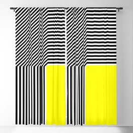 Geometric abstraction, black and white stripes, yellow square Blackout Curtain