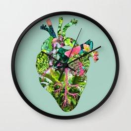 Botanical Heart Mint Wall Clock