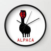 alpaca Wall Clocks featuring ALPACA by FUNCIT