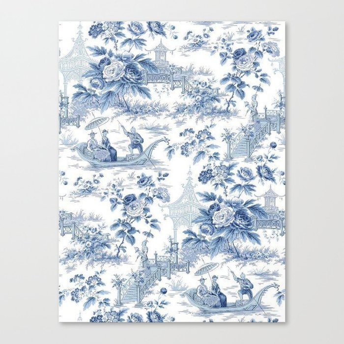 Powder Blue Chinoiserie Toile Leinwanddruck