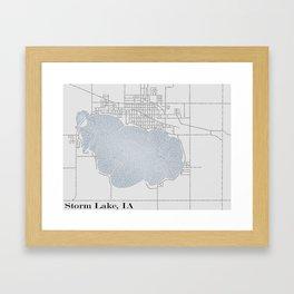 Storm Lake IA Typographical Map Framed Art Print