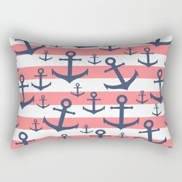 Nautical coral stripe navy blue anchor pattern Rectangular Pillow