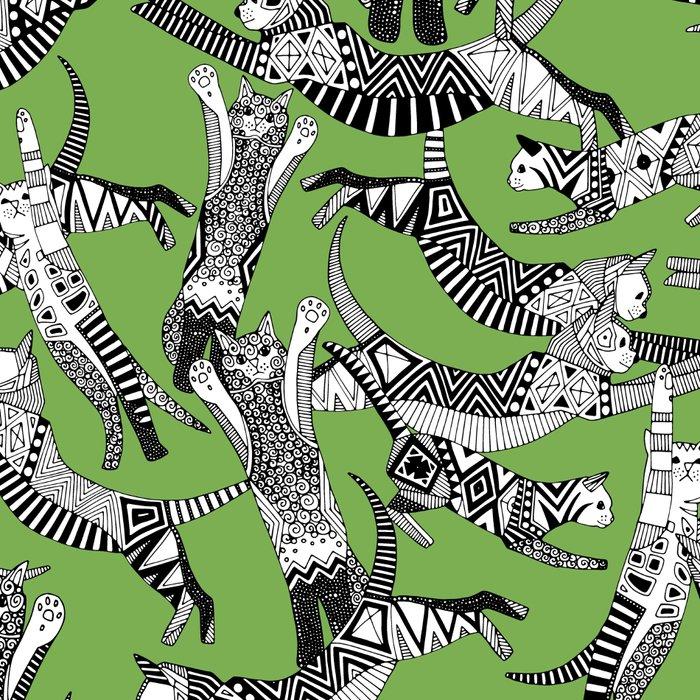 cat party palm green Leggings