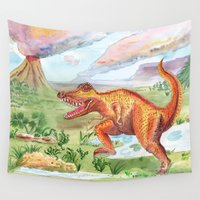 t rex Wall Tapestries featuring T-Rex by Catherine Holcombe