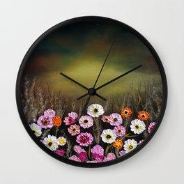 Stormy flowers Wall Clock