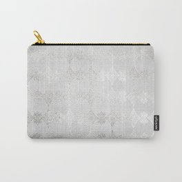 Metallic Silver Geometric Carry-All Pouch
