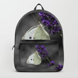 Cabbage butterfly on lavender, monochromatic bokeh background Backpack