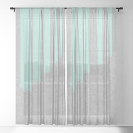 Soft cyan stripes on concrete Sheer Curtain