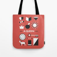 ouat Tote Bags featuring OUAT - A Queen by Redel Bautista