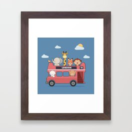 Kawaii Cute Zoo Animals On A London Bus Framed Art Print