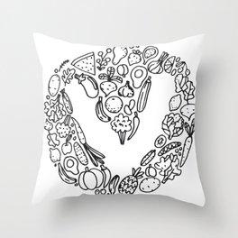 V Vegetables Throw Pillow