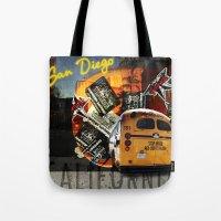 san diego Tote Bags featuring SAN DIEGO by MFY ★ design lab