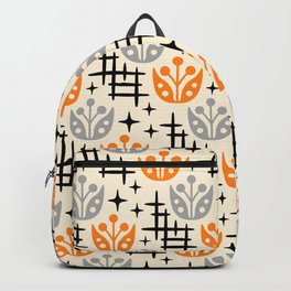 Mid Century Modern Space Flower Pattern Orange and Gray Backpack