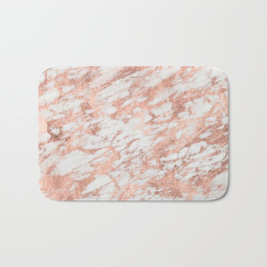 Marble - Pink Rose Gold Marble White Metallic iPhone Case and Throw Pillow Design Bath Mat