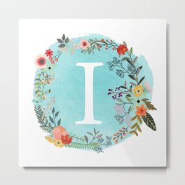 Personalized Monogram Initial Letter I Blue Watercolor Flower Wreath Artwork Metal Print