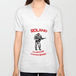 Roland The Headless Thompson Gunner Unisex V-Neck
