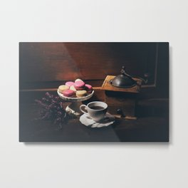 Vintage still life with coffee items Metal Print