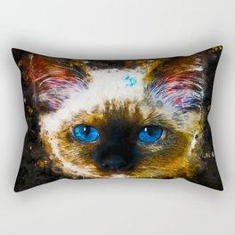 holy birma cat blue eyes splatter watercolor Rectangular Pillow
