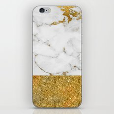 Luxury and glamorous gold glitter and marble iPhone & iPod Skin