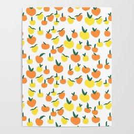Handdrawn Lemons and Oranges Pattern Poster
