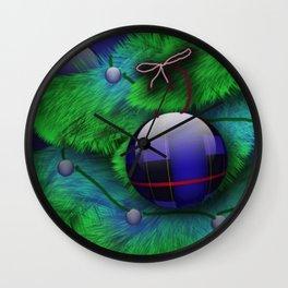 Plaid Christmas Wall Clock