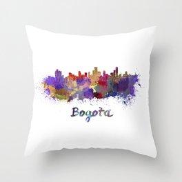 Bogota skyline in watercolor Throw Pillow