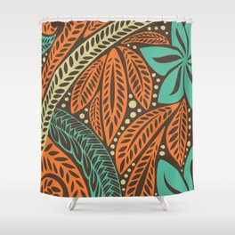 Blue orange retro colored Polynesian Hawaiian floral tattoo design Shower Curtain