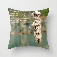 Inspiration of a cattail Throw Pillow
