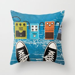 Guitar Music Effect Pedals Throw Pillow