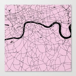 London Pink on Black Street Map Canvas Print