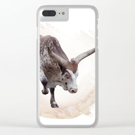 Digital Painting of brown and white longhorn steer Clear iPhone Case