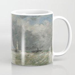 Eugne Boudin - Entree des jetees du Havre par gros temps Coffee Mug