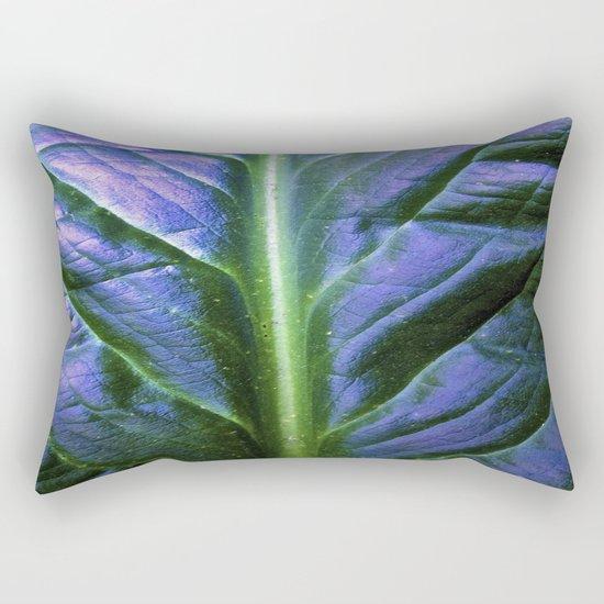 Purple Green Leaf Rectangular Pillow