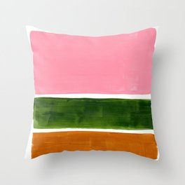 Colorful Minimalist Mid Century Modern Shapes Pink Olive Green Yellow Ochre Rothko Minimalist Square Throw Pillow