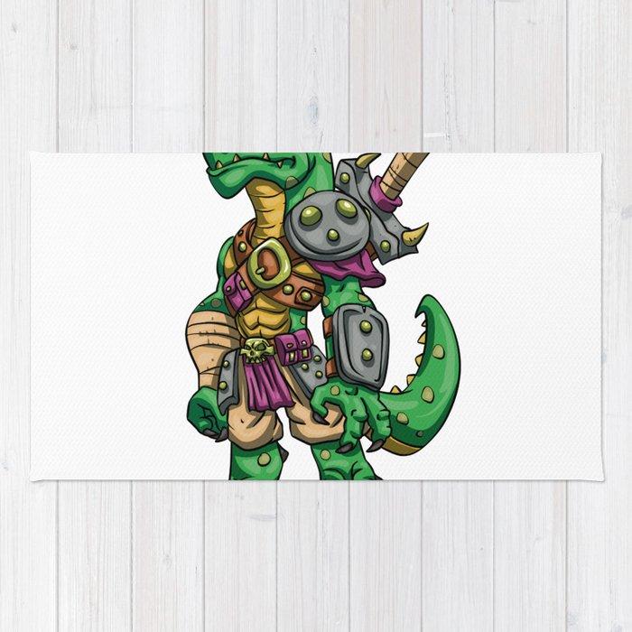 Lizard gladiator cartoon - dinosaur warrior illustration - tyrannosaurus character Rug