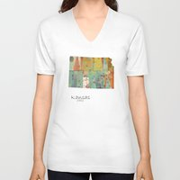 kansas V-neck T-shirts featuring Kansas state map by bri.buckley