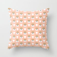 Corgi polka dots peach blush pastel pink coral welsh corgi iphone case for dog lover gifts for dogs Throw Pillow