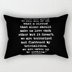 Charles Bukowski Typewriter White Font Quote Circus Rectangular Pillow