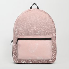 Rose Gold Sparkles on Pretty Blush Pink with Hearts Backpack