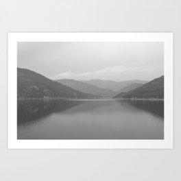 Rocky Mountain Lake in Black & White - M Art Print