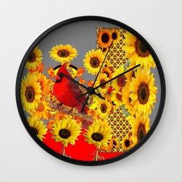 MODERN ABSTRACT RED CARDINAL YELLOW SUNFLOWERS GREY ART Wall Clock