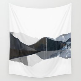 Lake reflection artprint blue and grayscale illustration Wall Tapestry